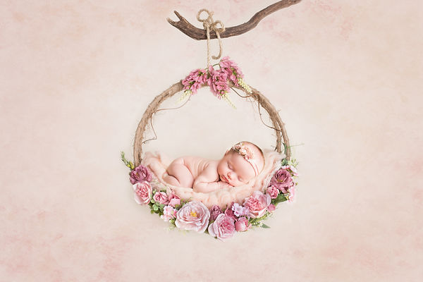 Newborn baby girl hanging in beautiful floral swing, Jaemie Hillbish Photography.  Pink, flowers.