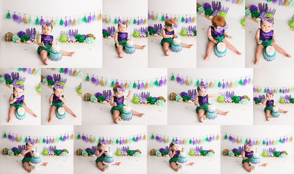 Baby Mermaid cake smash