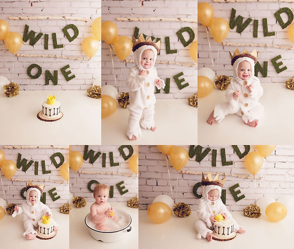 Wild one boys cake smash with jaemie hillbish photography. Cake, moss letters, first bithday, bubble bath, splash, where the wild things are.