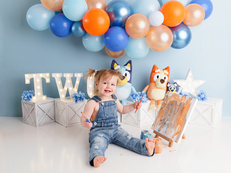 Caroline's Bluey Themed Second Birthday Paint Smash - With Jaemie Hillbish Photography