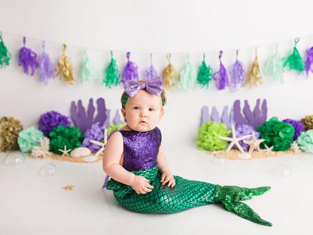 Little Mermaid Cake Smash - With Jaemie Hillbish Photography.