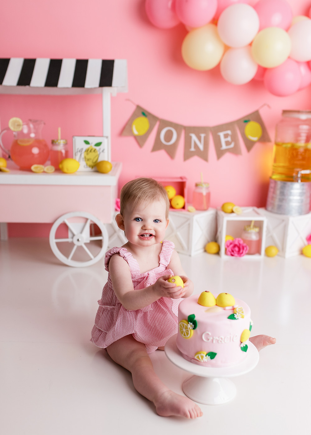 pink and yellow pink lemonade cake smash