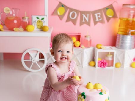 Gracie's First Birthday Pink Lemonade Cake Smash - With Jaemie Hillbish Photography