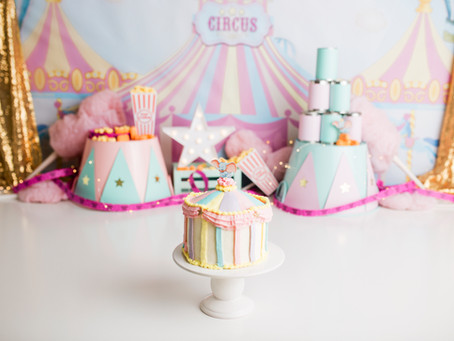 Pastel Vintage Girl Circus Cake Smash - With Jaemie Hillbish Photography.