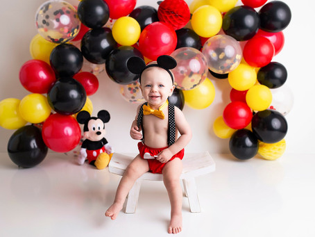Brayden's Mickey Mouse Cake Smash With - Jaemie Hillbish Photography