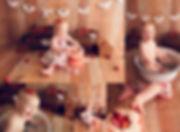 Strawberry cake smash with fruit bath. banner, crates, dress. first birthday. jaemie hillbish photography