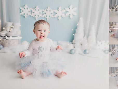 Amelia's Winter Wonderland Cake Smash - With Jaemie Hillbish Photography.