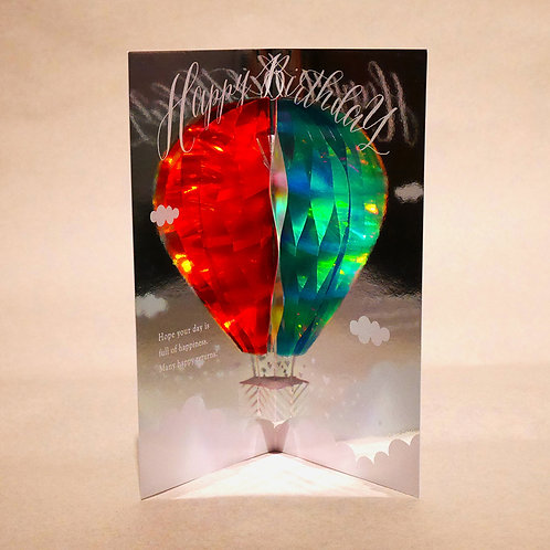 HOLOGRAM HONEYCOMB BIRTHDAY CARD/HOT-AIR BALLOON