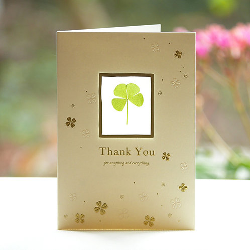 PRESSED FOUR LEAF CLOVER THANK YOU CARD/WHITE