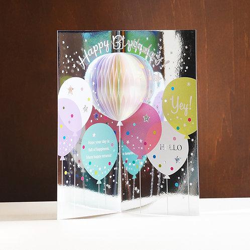 HOLOGRAM HONEYCOMB BIRTHDAY CARD/BIRTHDAY BALLOON