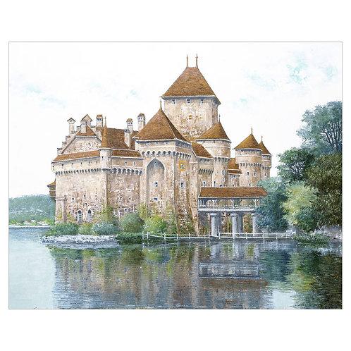 Old castle on the shores of Lake Leman (Chillon Castle,  Switzerland)