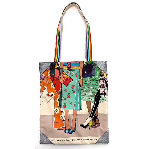 VERRIER HANDCRADATED CANVAS TOTE BAG/LIFE ISN'T PERFECT BUT YOUR OUTFIT CAN BE