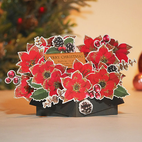 HOLIDAY POP UP CARD/POINSETTIA / Set of 5