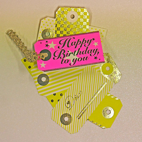 NEON COLOR TAG BIRTHDAY CARD/YELLOW