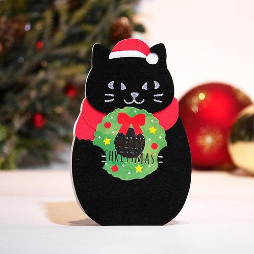 DIE CUT FELT CARD/BLACK CAT / Set of 5
