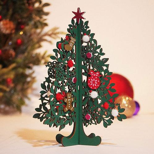 HOLIDAY WOOD TREE CARD/GREEN TREE / Set of 5