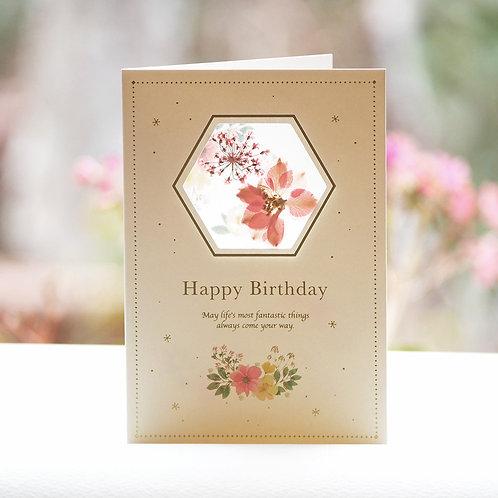 PRESSED FLOWER  BIRTHDAY CARD/PINK
