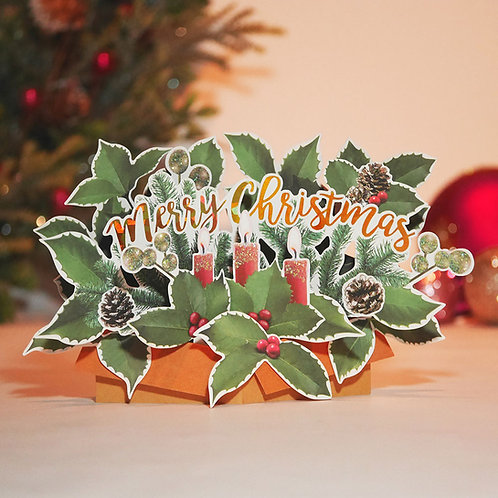 HOLIDAY POP UP CARD/CHRISTMAS HOLLY / Set of 5