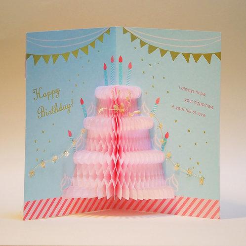 HONEYCOMB CAKE BIRTHDAY CARD/WHITE CAKE / Set of 5