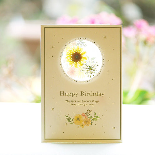 PRESSED FLOWER  BIRTHDAY CARD/YELLOW
