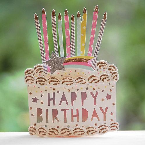CAKE BIRTHDAY CARD/POP CANDLE