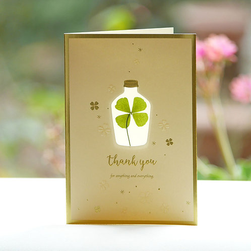 PRESSED FOUR LEAF CLOVER THANK YOU CARD/NAURAL