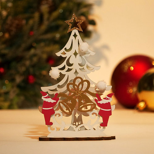 HOLIDAY MINI WOOD STAND CARD/WHITE TREE / Set of 5