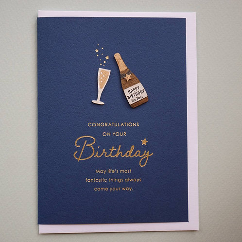 WOODEN PARTS BIRTHDAY CARD/CHAMPAGNE   / Set of 5