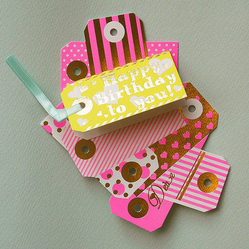 NEON COLOR TAG BIRTHDAY CARD/PINK