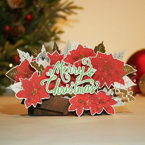HOLIDAY POP UP CARD/CHRISTMAS FLOWERS