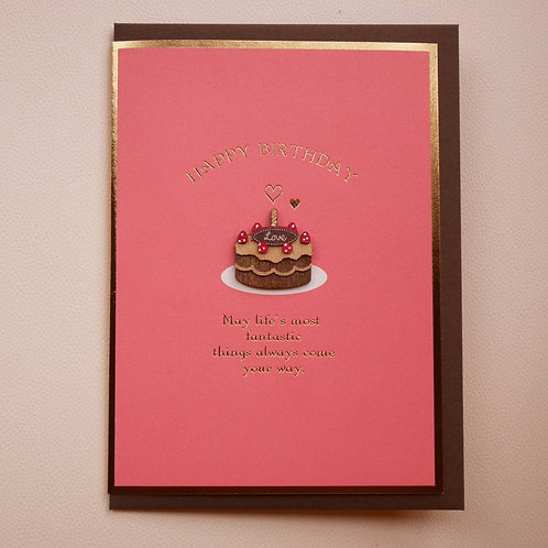 WOODEN PARTS BIRTHDAY CARD/LOVE CAKE    / Set of 5