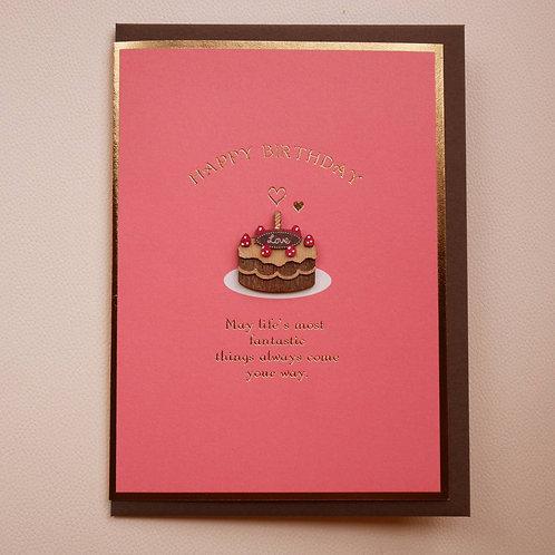 WOODEN PARTS BIRTHDAY CARD/LOVE CAKE