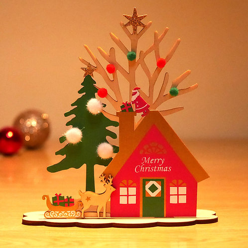 HOLIDAY WOOD STAND CARD / Set of 3