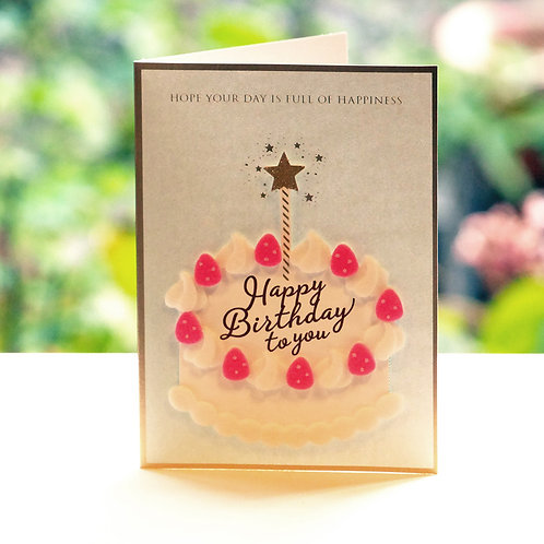 FELT CAKE BIRTHDAY CARD/BLUE / Set of 5