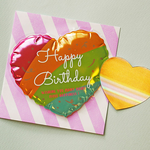 BALLOON DIE-CUT BIRTHDAY CARD/HEART