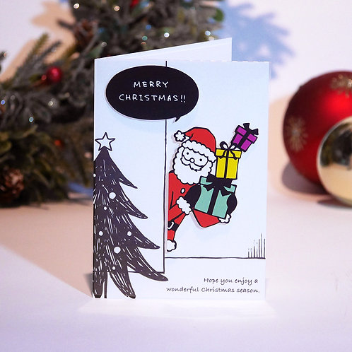 WALL STICKER CARD/SANTA CLAUS WITH GIFTS