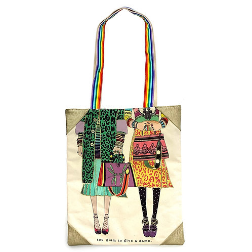 VERRIER HANDCRADATED CANVAS TOTE BAG/TOO GLAM TO GIVE A DAMN