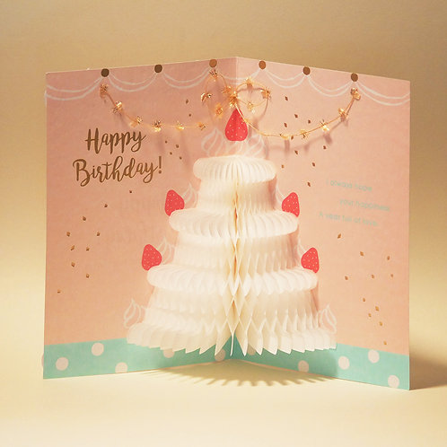 HONEYCOMB CAKE BIRTHDAY CARD/WHITE CAKE