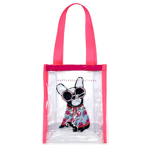 VERRIER HANDCRADATED CLEAR VINYL TOTE BAG/FRENCHIE