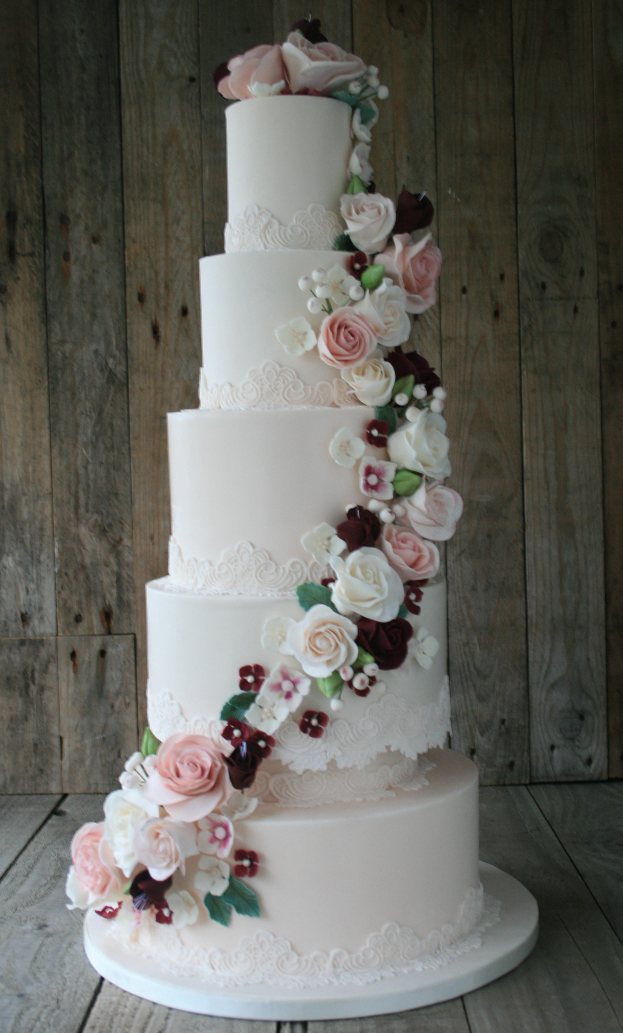 Vintage Blush Wedding Cake front