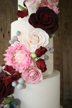 Pink Dahlia And Wild Rose det