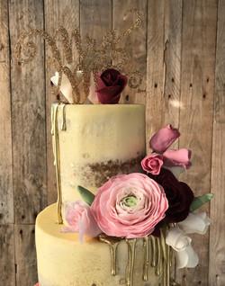 Burgundy Semi Naked Cake