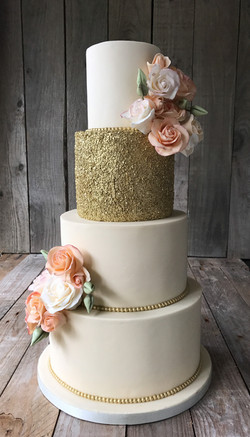Peach Roses and Golden Sparkle 1