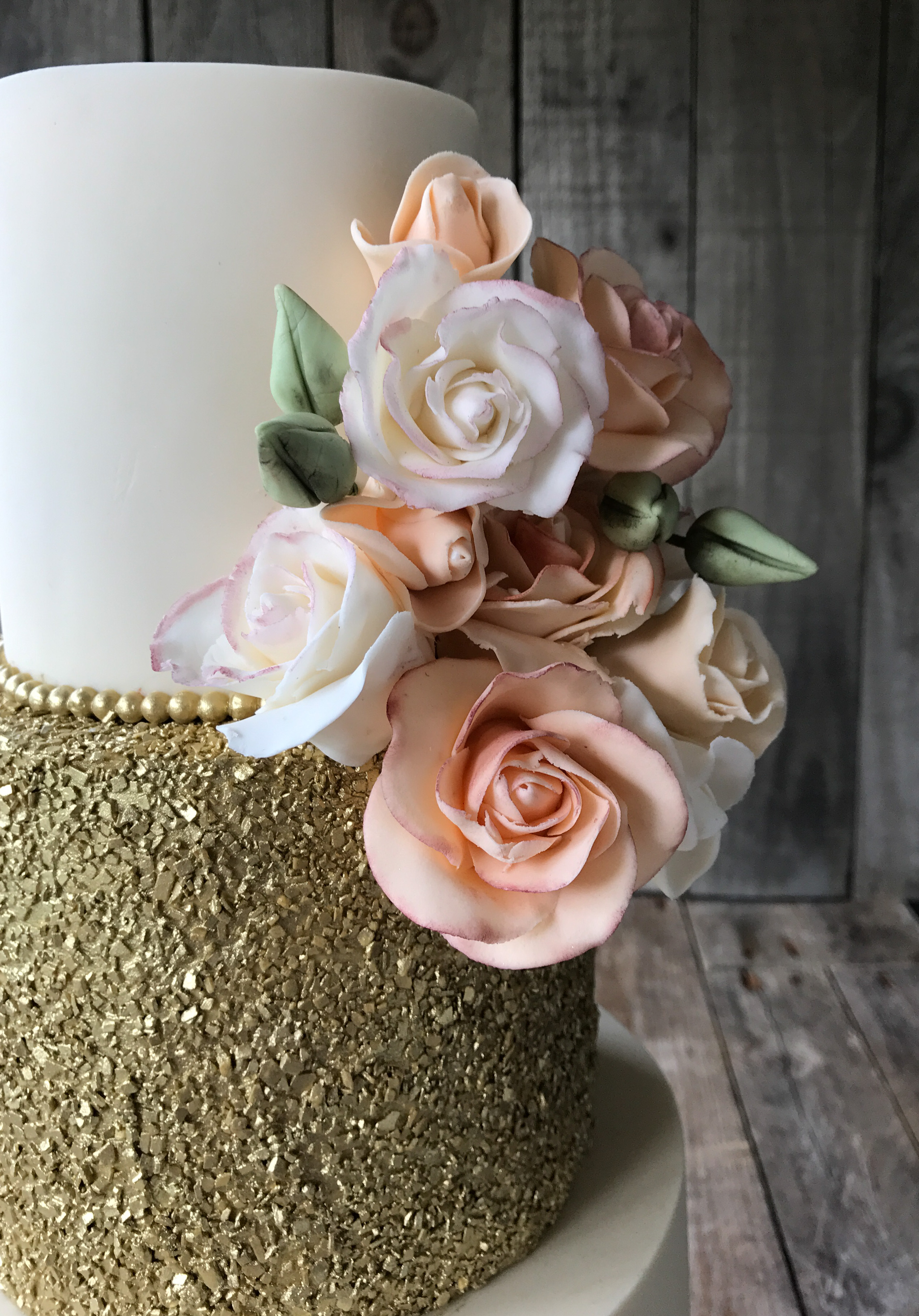 Peach Roses and Golden Sparkle 3