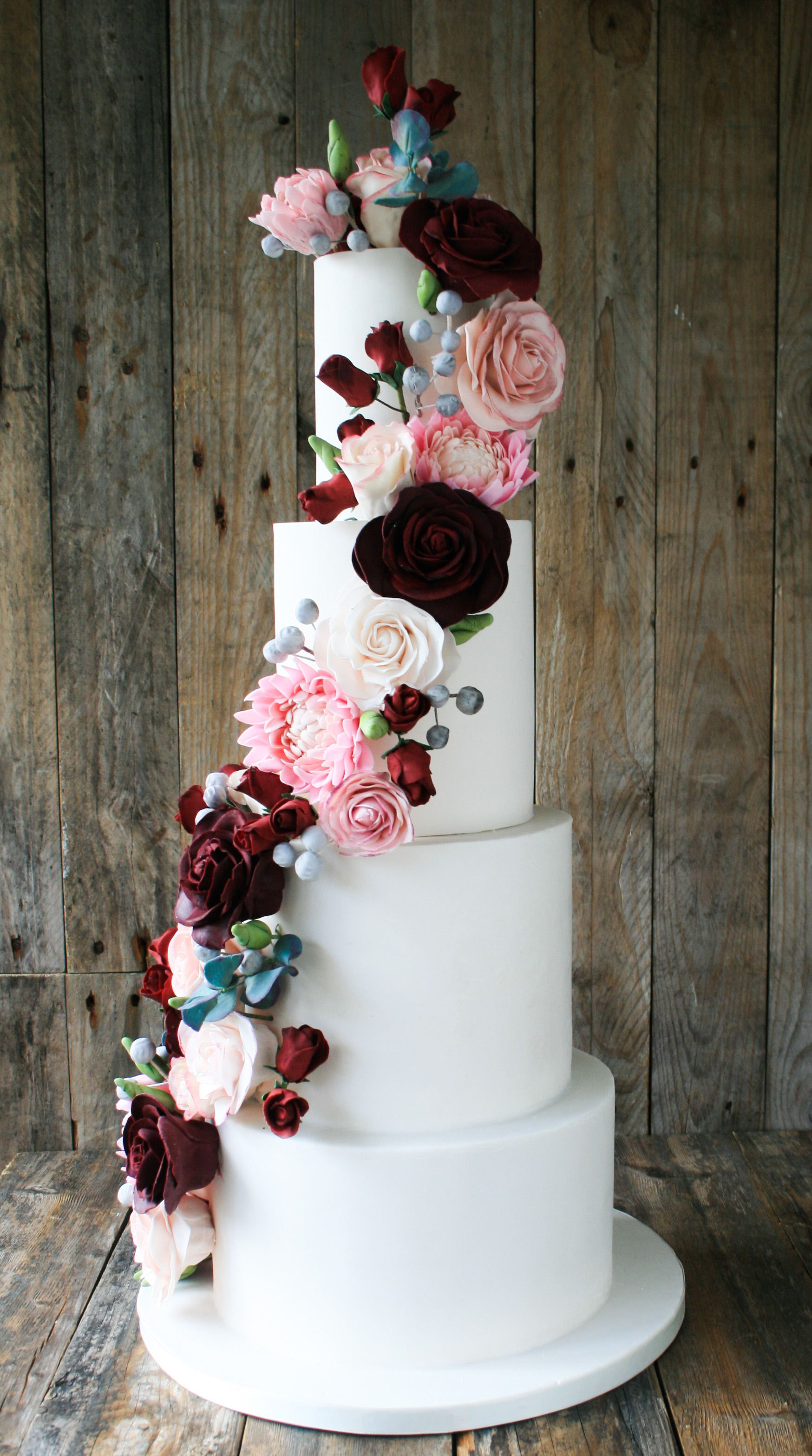 Pink Dahlia And Wild Rose Wedding Cake b
