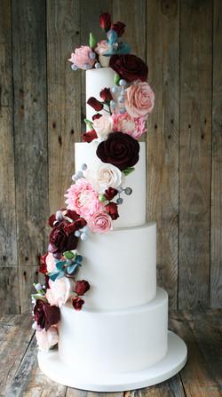 Pink Dahlia And Wild Rose Wedding Cake b