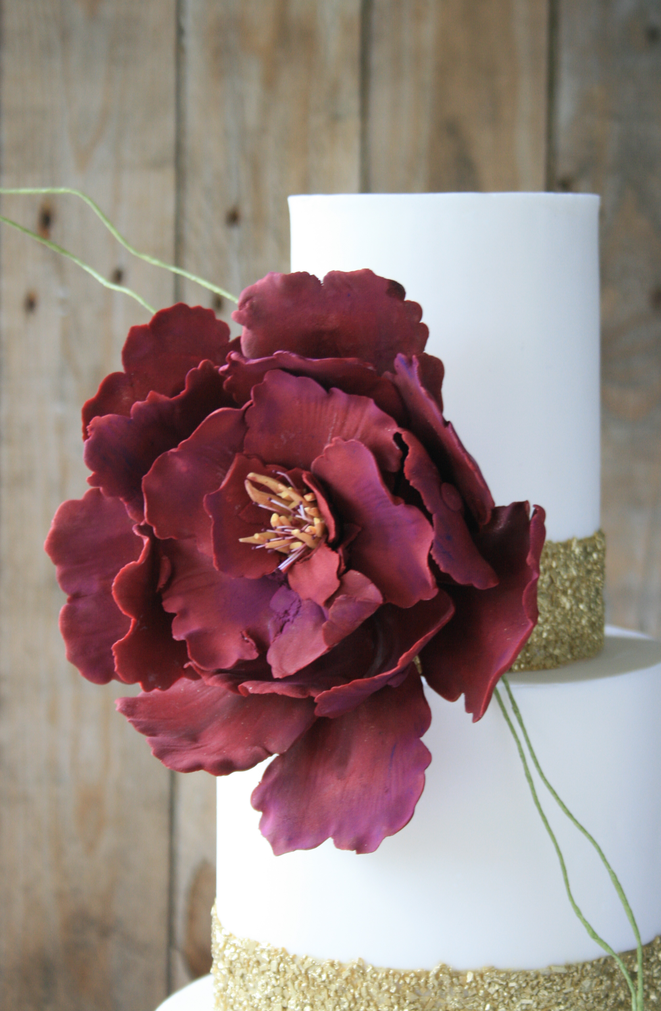Burgundy flower ruffle
