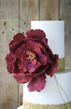 Burgundy flower ruffle