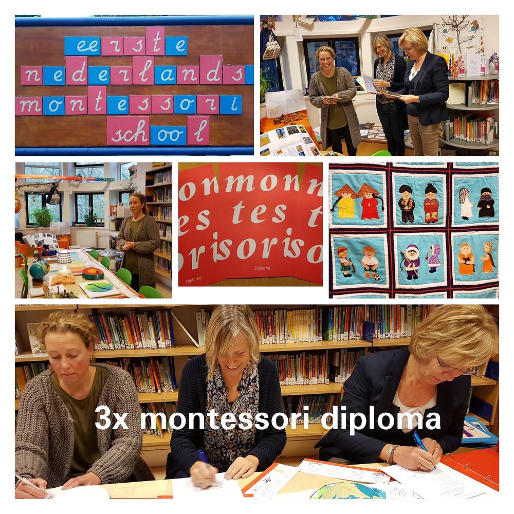 """Hoera, vanmiddag hebben we op de prachtige locatie van de Eerste Nederlandse Montessorischool 3 montessoridiploma's uitgereikt. Yvonne, Els en Nicoline namen ons mee in hun schoolontwikkeling. """" Ik bewijs vol trots dat ik bekwaam ben en een innovatieve bijdrage heb geleverd in school."""""""