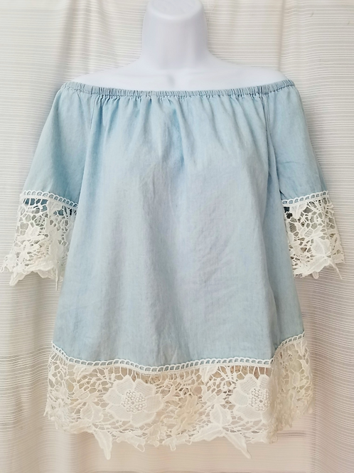 Cotton Denim Top w/ Crochet Lace.